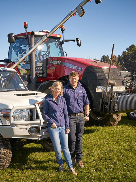 Kane and Shelley Walsh from Walsh Contracting Limited Te Anau with some of their vehicles