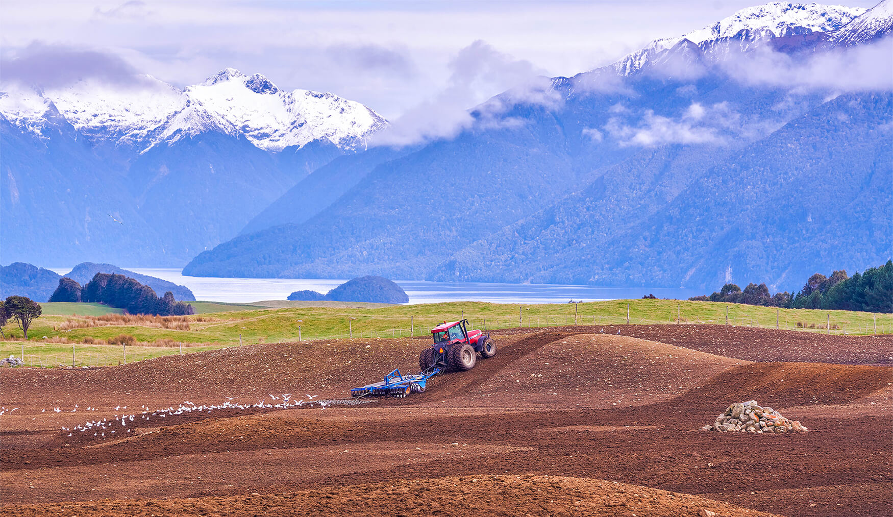 Tractor pulling Grizzly discs to cultivate field with scenic Lake Te Anau and mountains in the background.